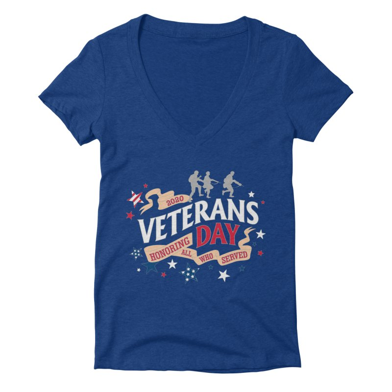 Veterans Day Women's Deep V-Neck V-Neck by Moon Joggers's Artist Shop