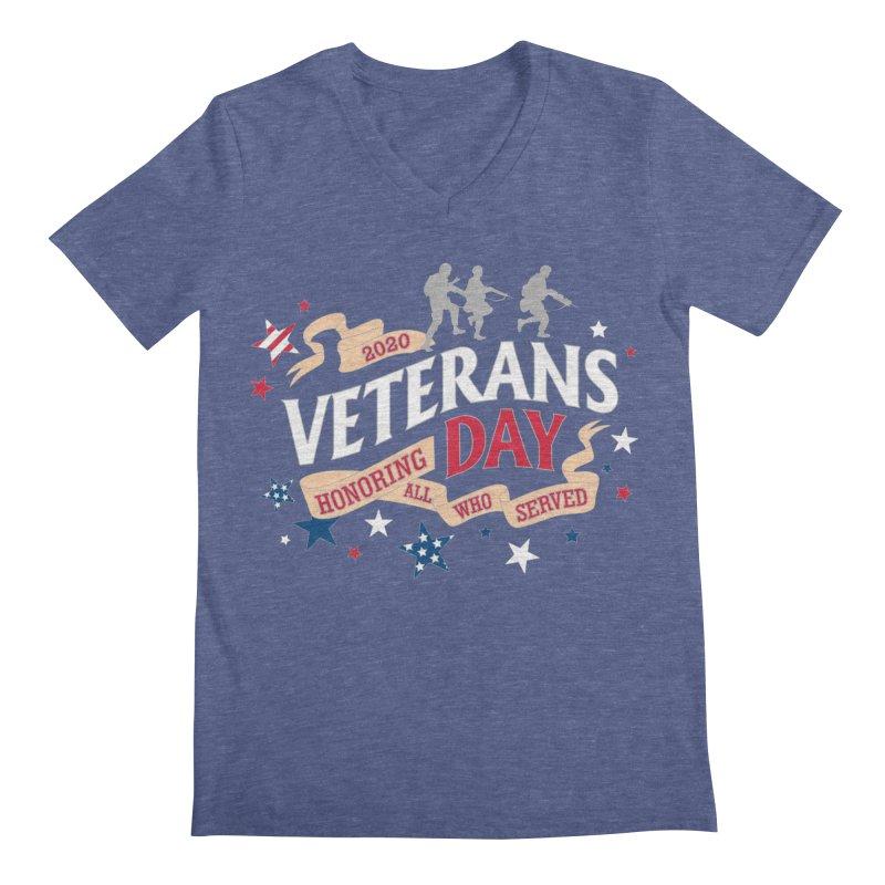 Veterans Day Men's Regular V-Neck by Moon Joggers's Artist Shop