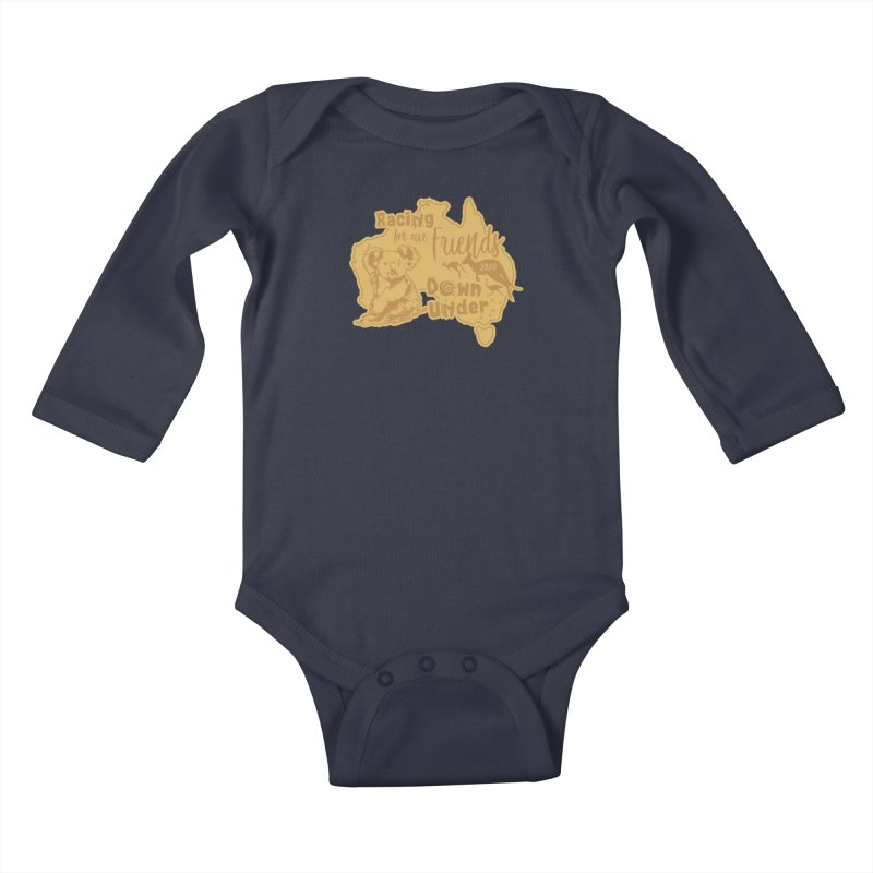 Racing for our Friends Down Under Kids Baby Longsleeve Bodysuit by Moon Joggers's Artist Shop
