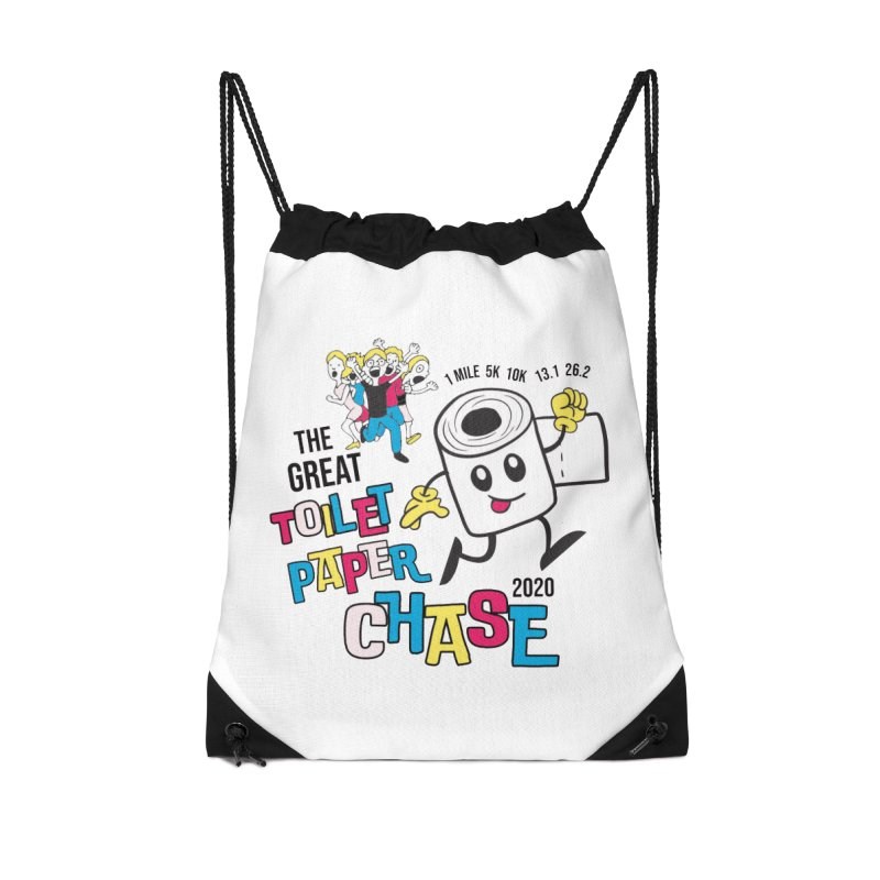 The Great Toilet Paper Chase of 2020 Accessories Drawstring Bag Bag by Moon Joggers's Artist Shop