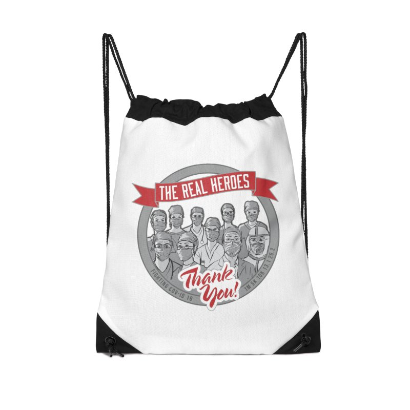 The Real Heroes Accessories Drawstring Bag Bag by Moon Joggers's Artist Shop