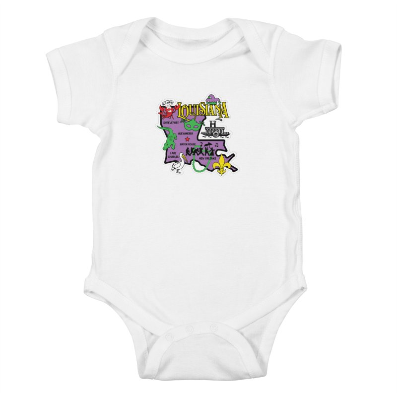 Race Through Luoisiana Kids Baby Bodysuit by Moon Joggers's Artist Shop