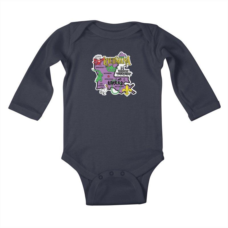Race Through Luoisiana Kids Baby Longsleeve Bodysuit by Moon Joggers's Artist Shop