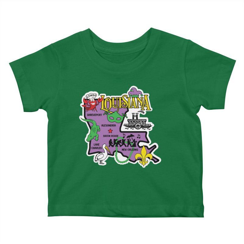 Race Through Luoisiana Kids Baby T-Shirt by Moon Joggers's Artist Shop