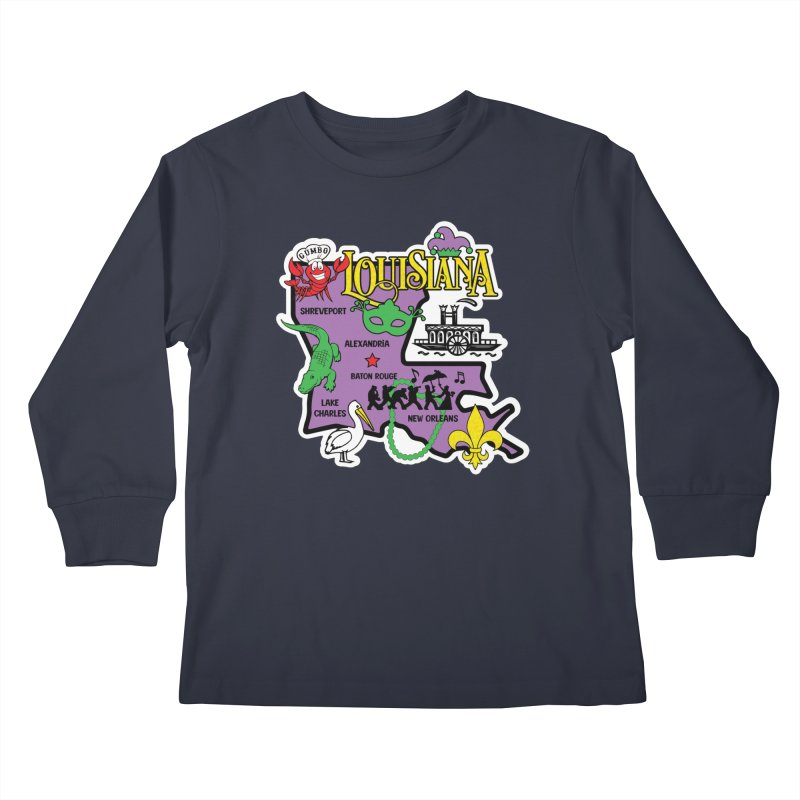 Race Through Luoisiana Kids Longsleeve T-Shirt by Moon Joggers's Artist Shop