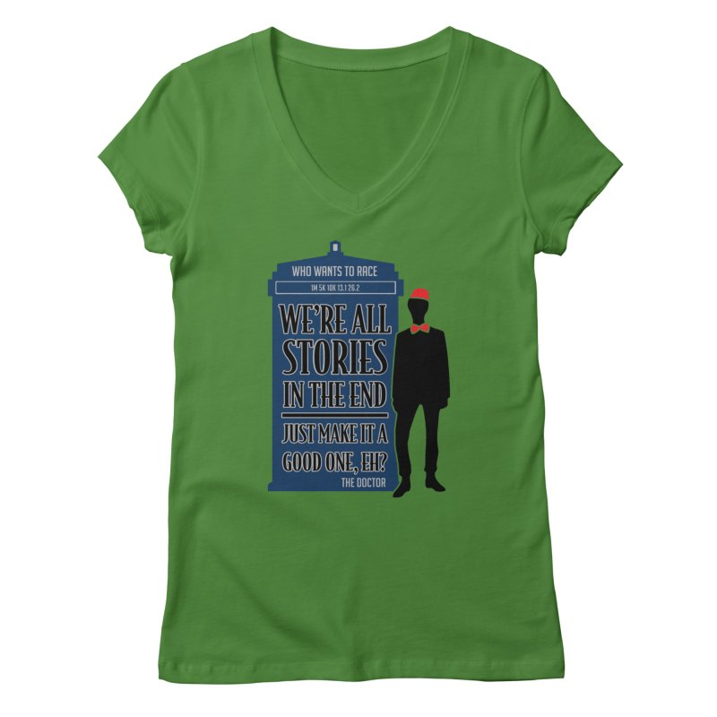 WHO Wants to Race Women's V-Neck by Moon Joggers's Artist Shop