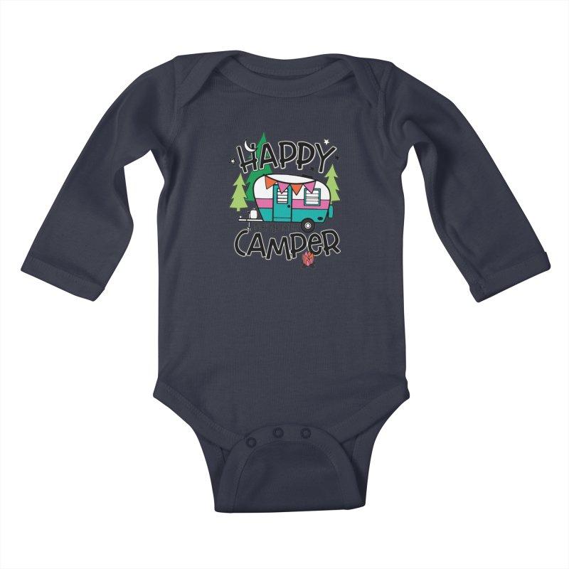Happy Camper Kids Baby Longsleeve Bodysuit by Moon Joggers's Artist Shop