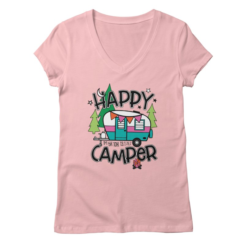 Happy Camper Women's V-Neck by Moon Joggers's Artist Shop