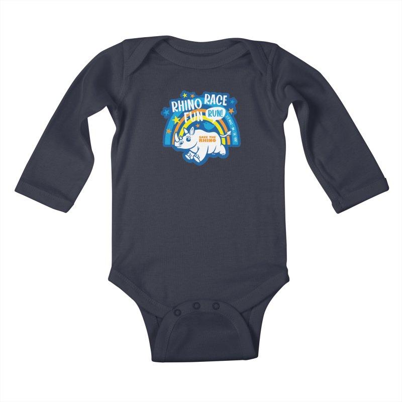 RHINO RACE FUN RUN Kids Baby Longsleeve Bodysuit by Moon Joggers's Artist Shop