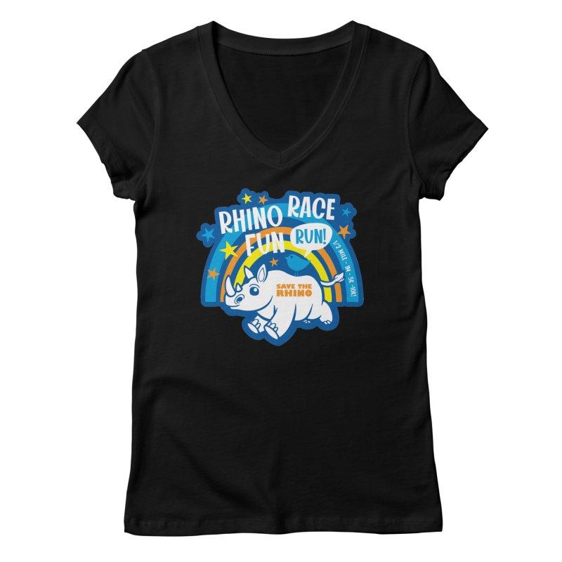 RHINO RACE FUN RUN Women's V-Neck by Moon Joggers's Artist Shop
