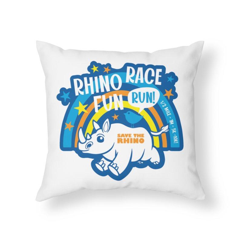RHINO RACE FUN RUN Home Throw Pillow by Moon Joggers's Artist Shop