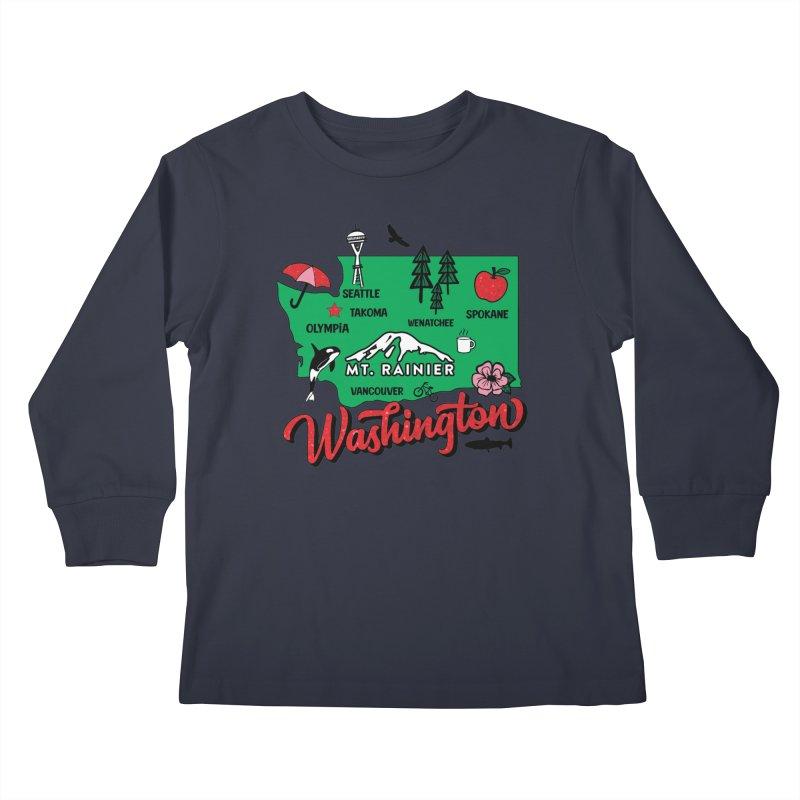 Race Through Washington Kids Longsleeve T-Shirt by Moon Joggers's Artist Shop