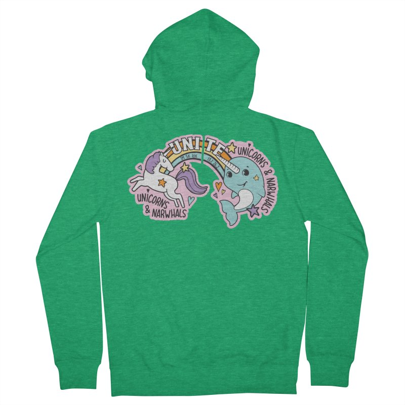 Unicorns and Narwhals Unite! Men's Zip-Up Hoody by Moon Joggers's Artist Shop