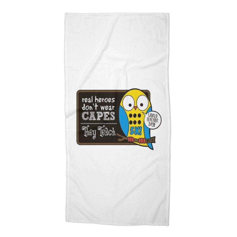 World Teacher Day 5K Accessories Beach Towel by moonjoggers's Artist Shop