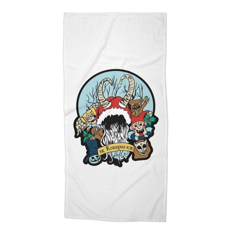 Krampus 5K & 10K Accessories Beach Towel by moonjoggers's Artist Shop