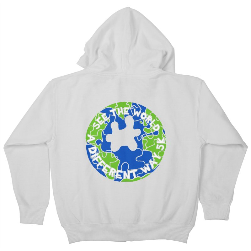 See The World A Different Way 5K Kids Zip-Up Hoody by moonjoggers's Artist Shop