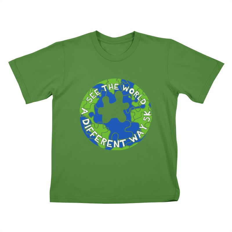 See The World A Different Way 5K Kids T-Shirt by moonjoggers's Artist Shop