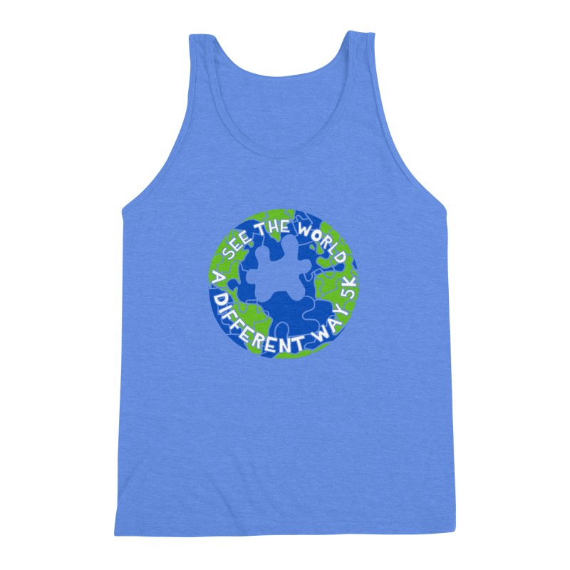See The World A Different Way 5K Men's Triblend Tank by moonjoggers's Artist Shop