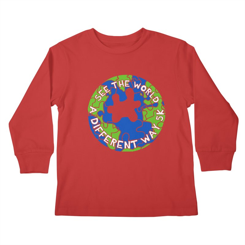 See The World A Different Way 5K Kids Longsleeve T-Shirt by moonjoggers's Artist Shop