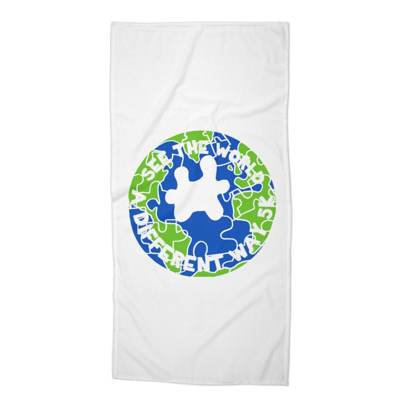 See The World A Different Way 5K Accessories Beach Towel by moonjoggers's Artist Shop