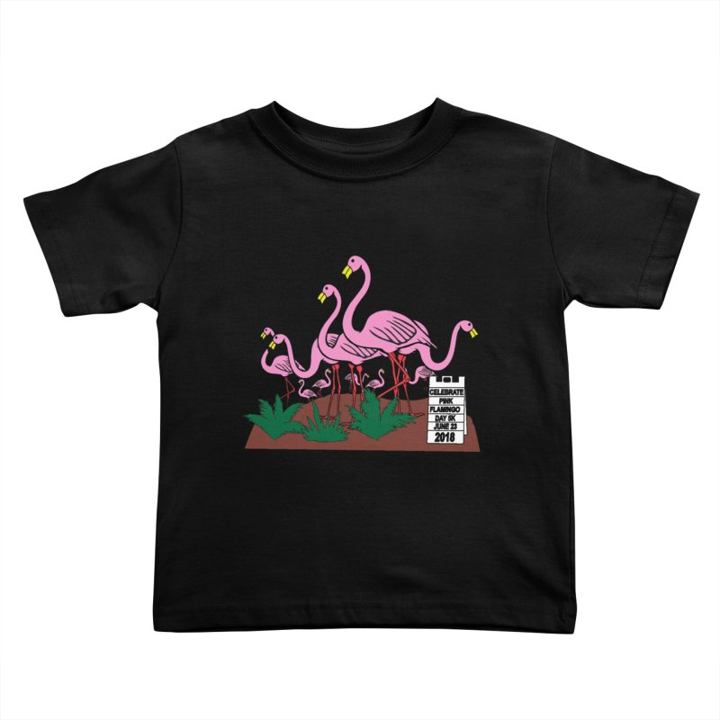 Flamingo Day 5K Kids Toddler T-Shirt by moonjoggers's Artist Shop