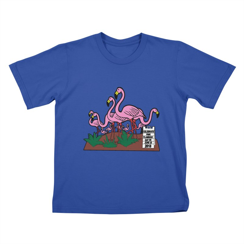 Flamingo Day 5K Kids T-Shirt by moonjoggers's Artist Shop