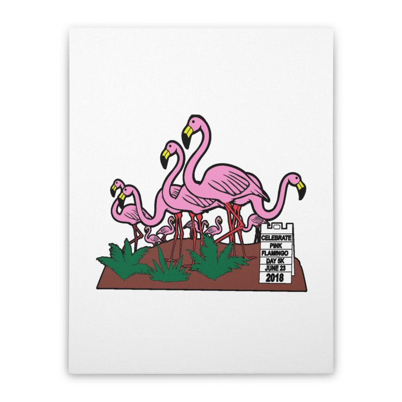 Flamingo Day 5K Home Stretched Canvas by moonjoggers's Artist Shop