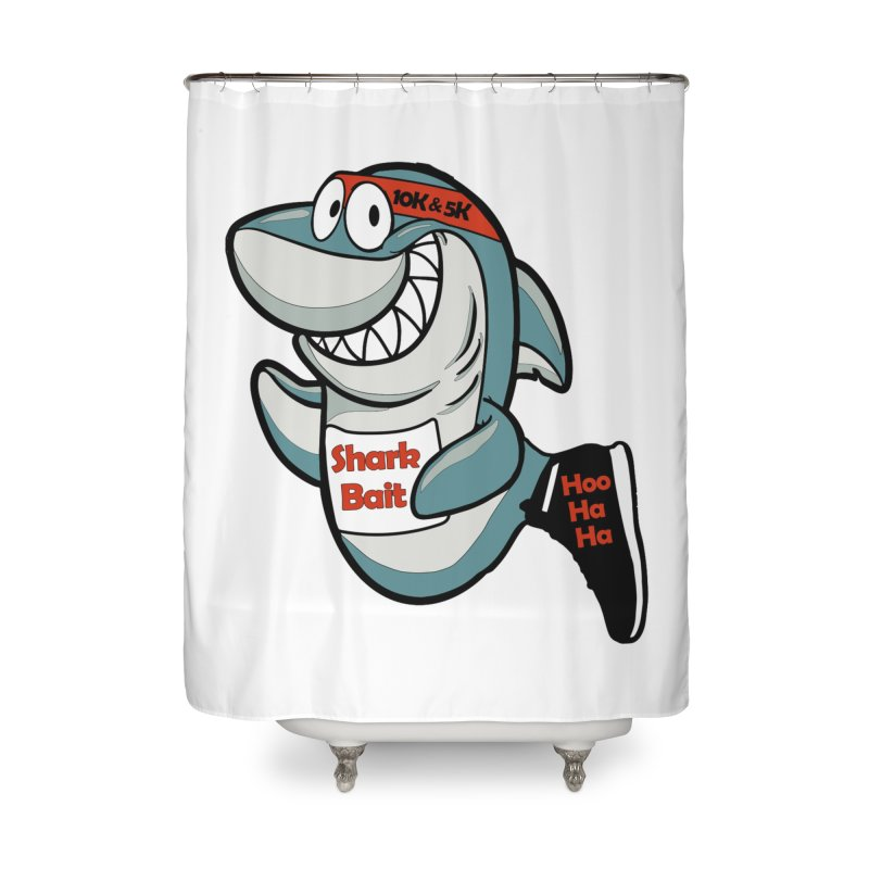 Shark Bait Hoo Ha Ha 5K & 10K Home Shower Curtain by moonjoggers's Artist Shop