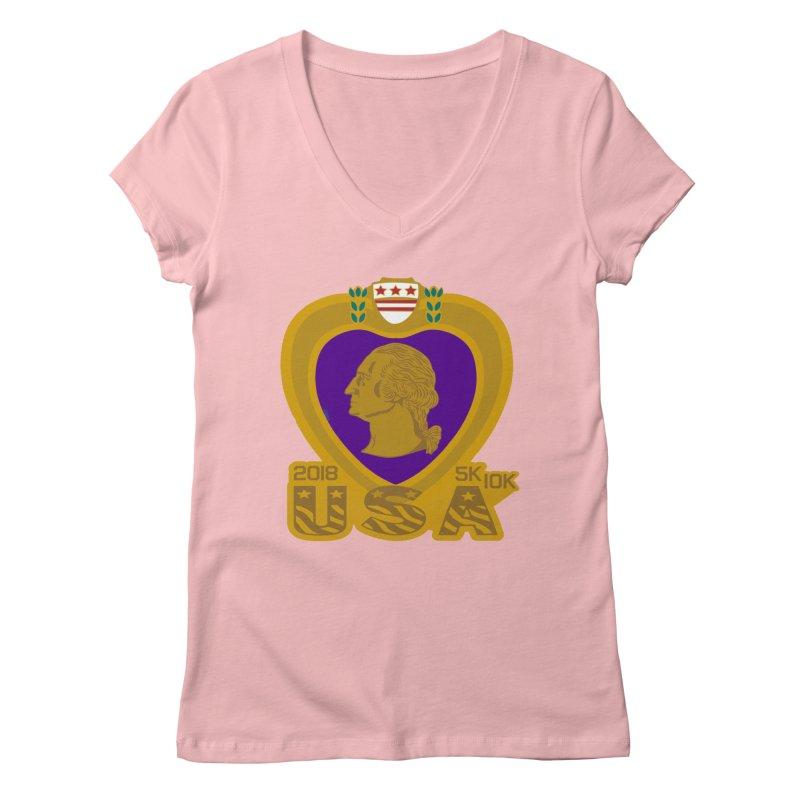 Purple Heart Day 5K & 10K Women's V-Neck by moonjoggers's Artist Shop