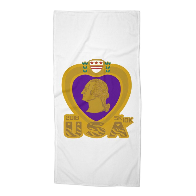 Purple Heart Day 5K & 10K Accessories Beach Towel by moonjoggers's Artist Shop