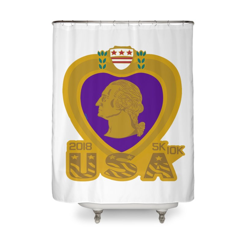 Purple Heart Day 5K & 10K Home Shower Curtain by moonjoggers's Artist Shop