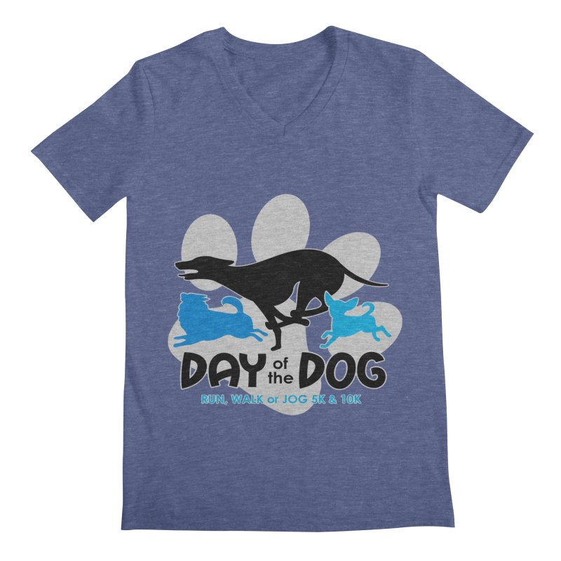 Day of the Dog - Run, Walk or Jog 5K & 10K Men's V-Neck by moonjoggers's Artist Shop