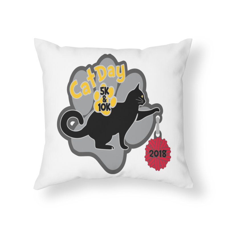 Cat Day 5K & 10K Home Throw Pillow by moonjoggers's Artist Shop