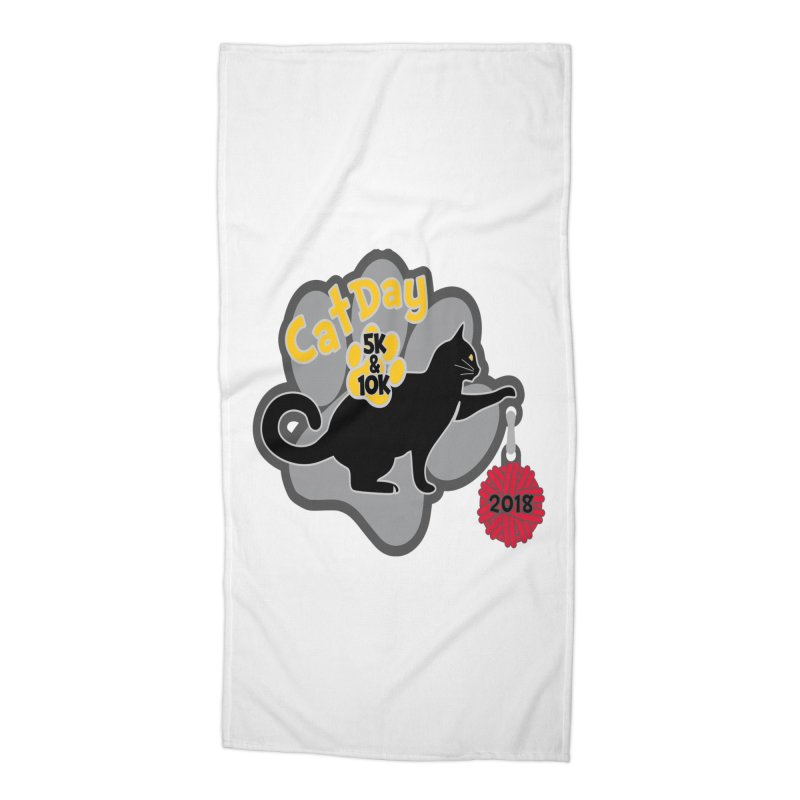 Cat Day 5K & 10K Accessories Beach Towel by moonjoggers's Artist Shop