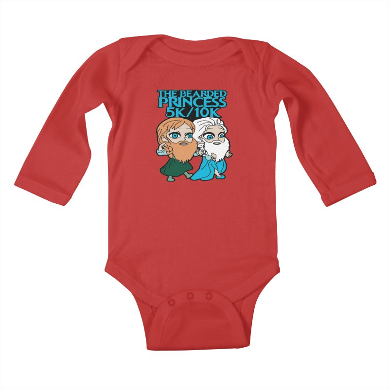 THE BEARDED PRINCESS 5K & 10K: EZRA AND ANSON Kids Baby Longsleeve Bodysuit by moonjoggers's Artist Shop