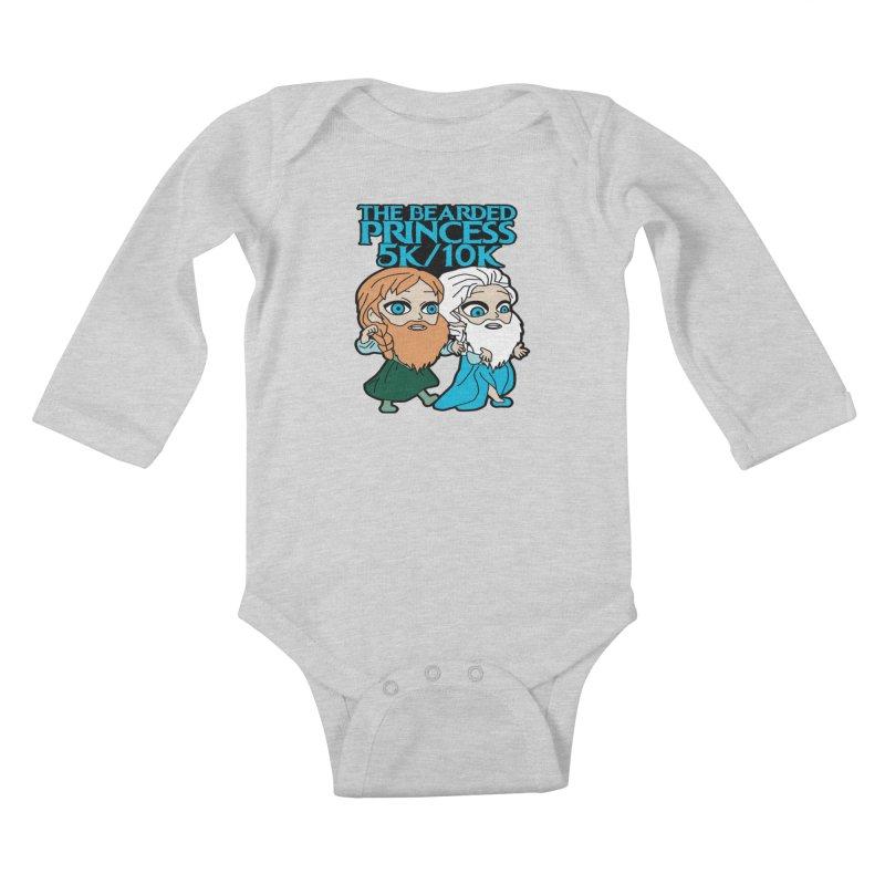 THE BEARDED PRINCESS 5K & 10K: EZRA AND ANSON Kids Baby Longsleeve Bodysuit by moonjoggers's Artist Shop