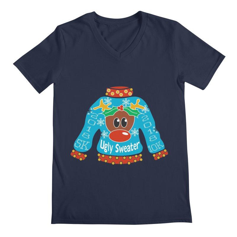 Ugly Sweater 5K & 10K Men's Regular V-Neck by moonjoggers's Artist Shop