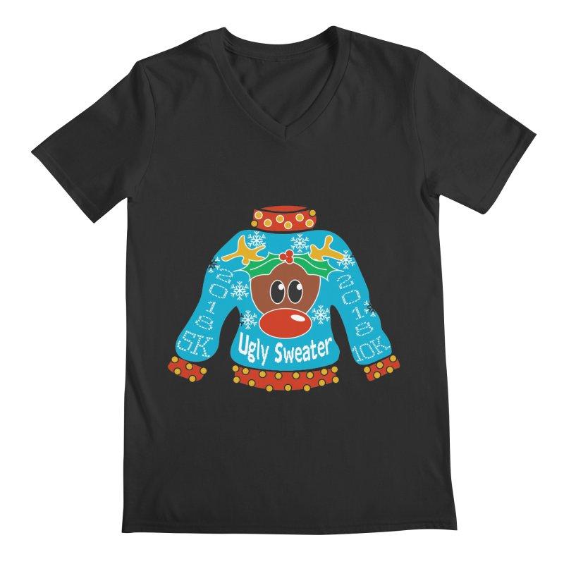 Ugly Sweater 5K & 10K Men's V-Neck by moonjoggers's Artist Shop