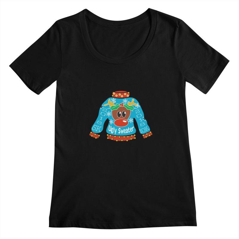 Ugly Sweater 5K & 10K Women's Scoopneck by moonjoggers's Artist Shop