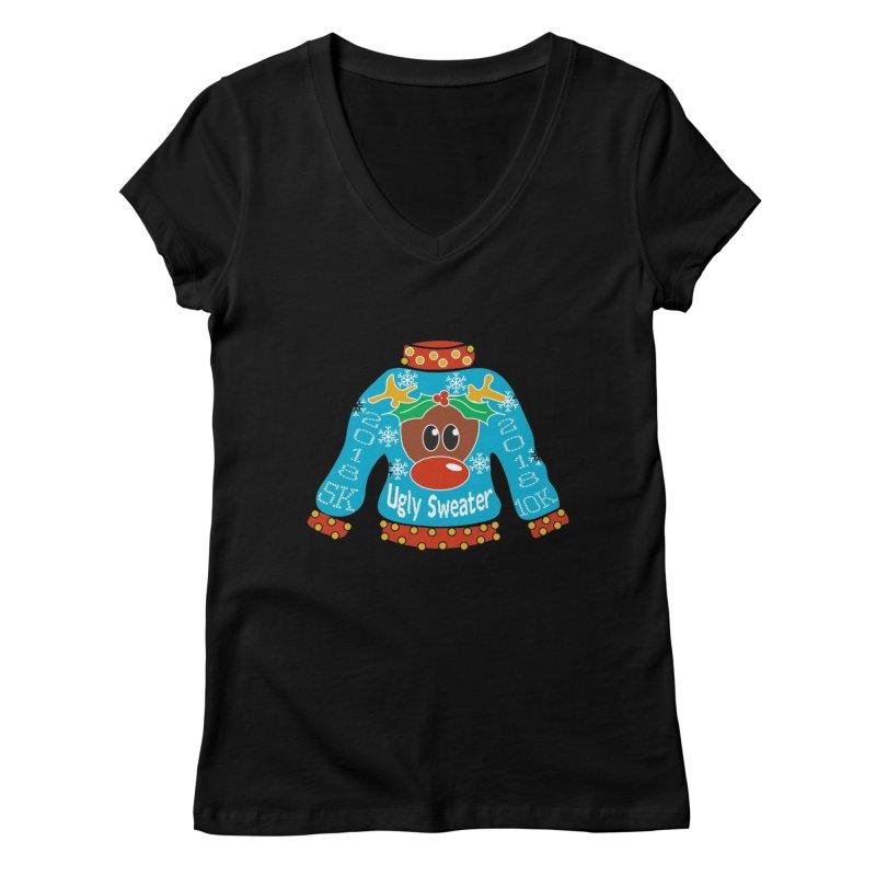 Ugly Sweater 5K & 10K Women's Regular V-Neck by moonjoggers's Artist Shop