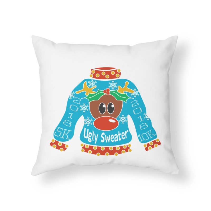 Ugly Sweater 5K & 10K Home Throw Pillow by Moon Joggers's Artist Shop