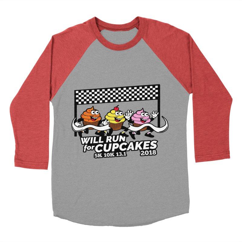 Cupcake Day 5K, 10K, 13.1 - Will Run For Cupcakes Women's Baseball Triblend Longsleeve T-Shirt by moonjoggers's Artist Shop