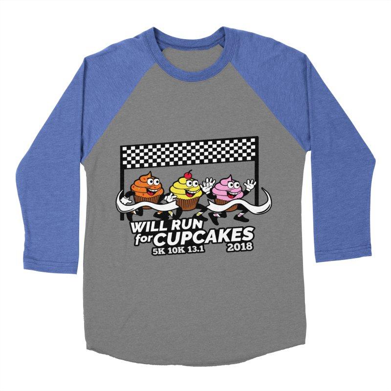 Cupcake Day 5K, 10K, 13.1 - Will Run For Cupcakes Men's Baseball Triblend Longsleeve T-Shirt by moonjoggers's Artist Shop