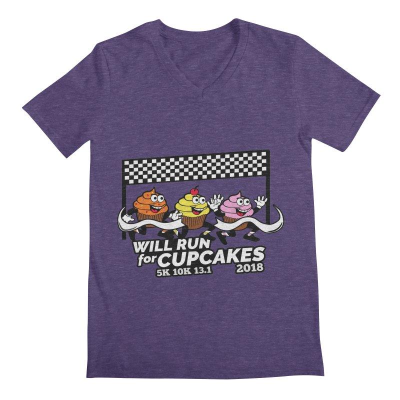 Cupcake Day 5K, 10K, 13.1 - Will Run For Cupcakes Men's Regular V-Neck by moonjoggers's Artist Shop