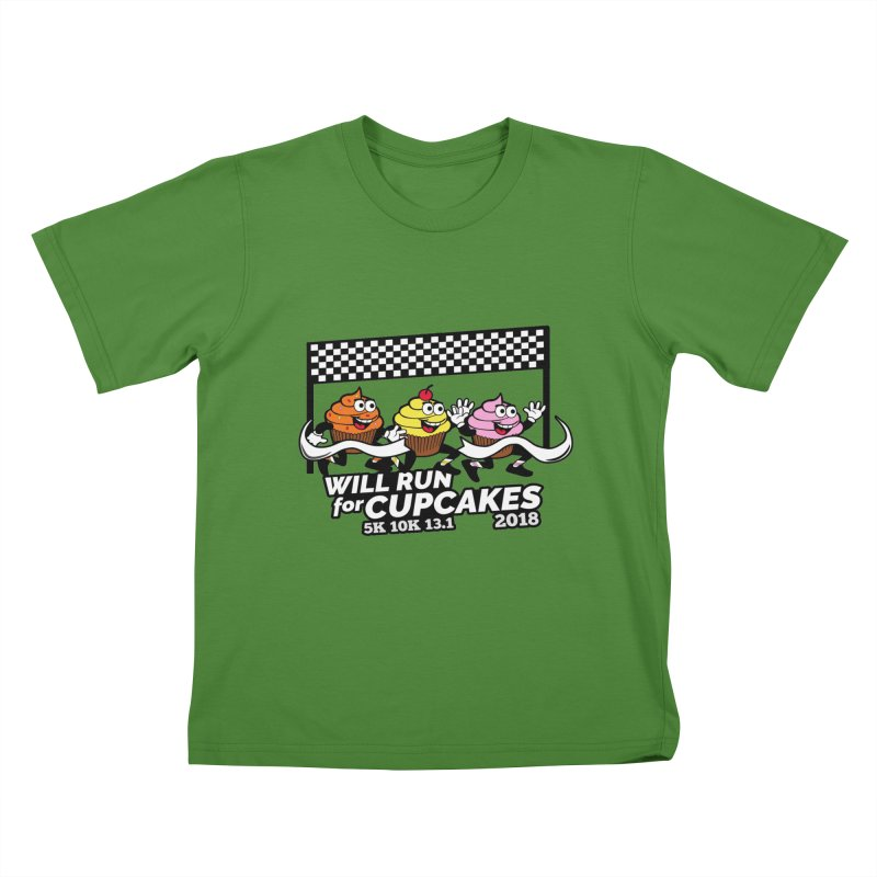 Cupcake Day 5K, 10K, 13.1 - Will Run For Cupcakes Kids T-Shirt by moonjoggers's Artist Shop