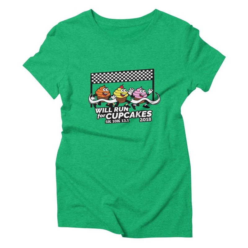 Cupcake Day 5K, 10K, 13.1 - Will Run For Cupcakes Women's Triblend T-Shirt by moonjoggers's Artist Shop