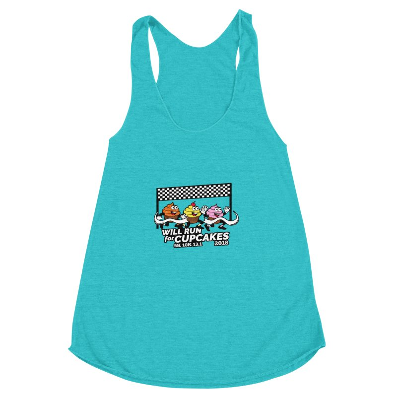Cupcake Day 5K, 10K, 13.1 - Will Run For Cupcakes Women's Racerback Triblend Tank by moonjoggers's Artist Shop