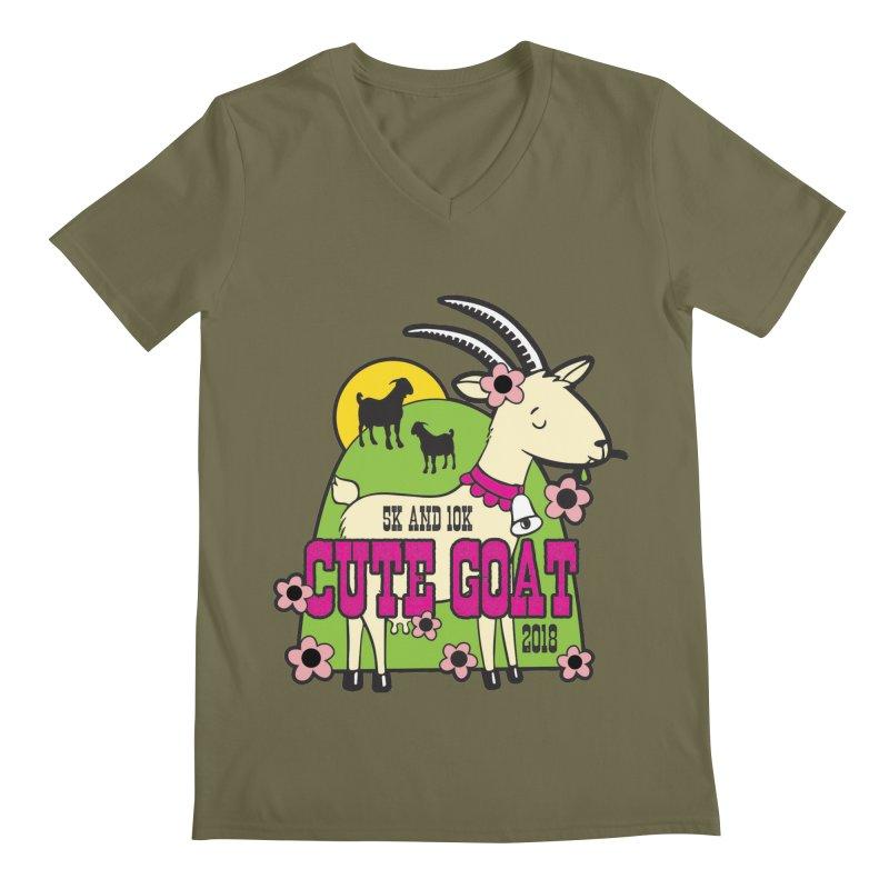 Cute Goat 5K & 10K Men's Regular V-Neck by moonjoggers's Artist Shop