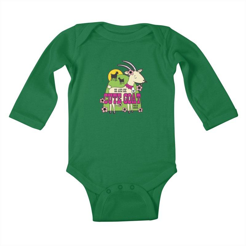 Cute Goat 5K & 10K Kids Baby Longsleeve Bodysuit by moonjoggers's Artist Shop