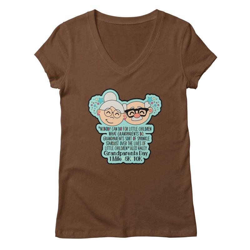 Grandparents Day 1 Mile, 5K & 10K Women's Regular V-Neck by moonjoggers's Artist Shop